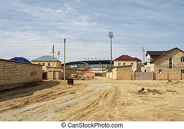 City suburb. - Suburb of the city of Zhanaozen in...