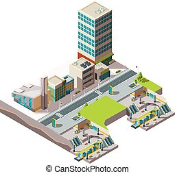 City subway. Urban landscape infrastructure with buildings and cross section railway metro vector low poly isometric