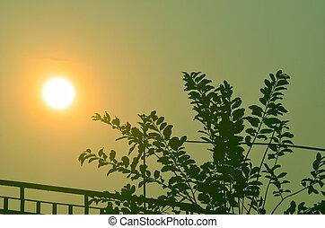City sun goes down