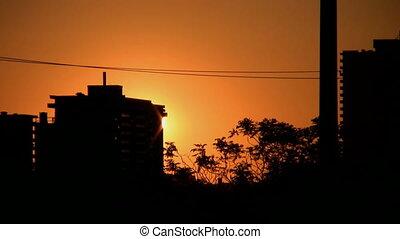 City sunrise. Slow timelapse.