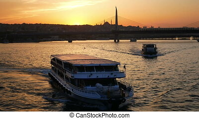 City sunset bridge ferry park panorama 4k