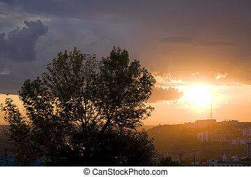 city sunset scene