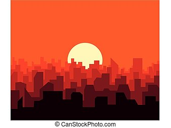 City sunset skyline urban landscape. Cityscape silhouette in flat style