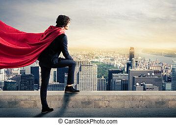 City superhero - Businessman with a superhero cape view from...