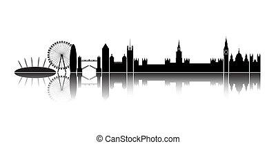 city., sylwetka na tle nieba, londyn