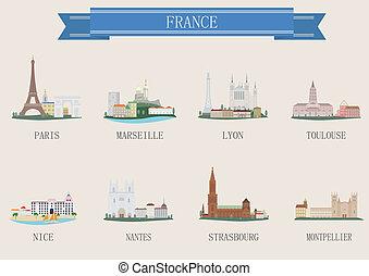 City symbol. France. Vector set for you design