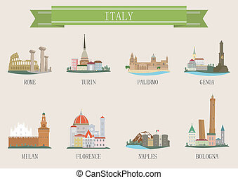 City symbol. Italy. Vector set for you design