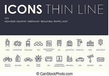 CITY Thin Line Icons