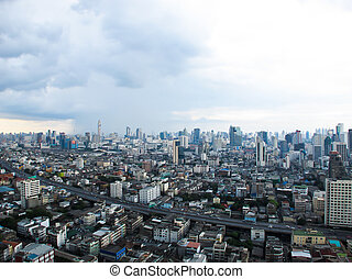 City Top View at afternoon in bangkok