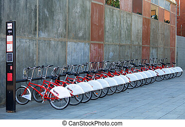 City tour bicycles parked in central Barcelona. - City tour ...