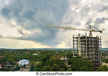 city., tour, cadre, propriété, construction, grand, développement, concept., bâtiment, levage, vue, résidentiel, béton, croissance, aérien, urbain, grue, appartement, sous, vrai