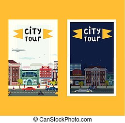 City tour set of banners, posters vector illustration. Day night town. Busy street with buildings such as restaurant, fashion studio, pharmacy, film cnter. People walking along road.