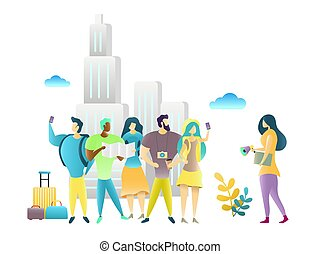 City tour with travel guide, vector illustration