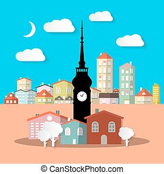 City - Town. Abstract Vector Urban Landscape with Houses and Tower.