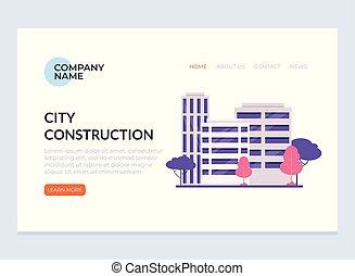 City town building construction architecture web banner internet site page concept. Vector flat graphic design illustration