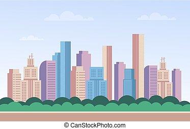 City town buildings skyscraper web banner poster concept. Vector flat cartoon graphic design illustration