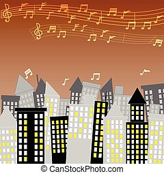 City town of Music with Music composer in the sky