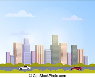 City town panorama skyline skyscraper concept. Vector flat cartoon graphic design banner poster illustration