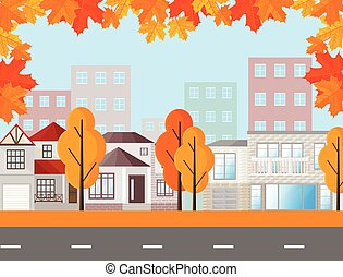 Town street view, buildings in autumn season. Vector Mapple leaves background