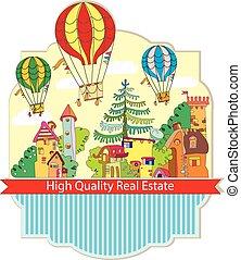 city town with hot air balloon card