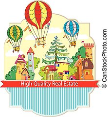 city town with hot air balloon card