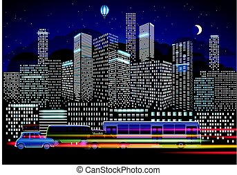 City traffic and night illumination. Modern city life...