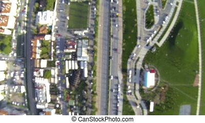 City traffic at intersection.Aerial