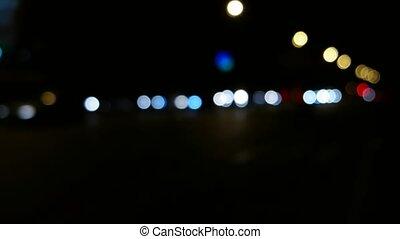 City Traffic at Night Defocused