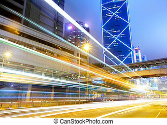 City traffic at night in Hong Kong