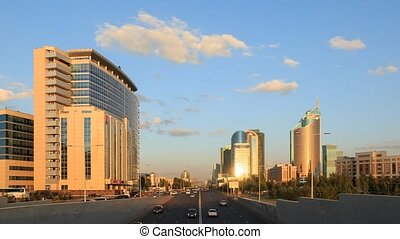 City traffic at Sunset. Kunaev Avenue, Astana, Kazakhstan. Time Lapse