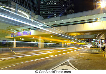 city traffic blur at night