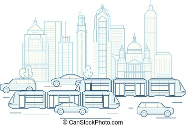 City traffic - downtown cityscape with public transport, megapolis