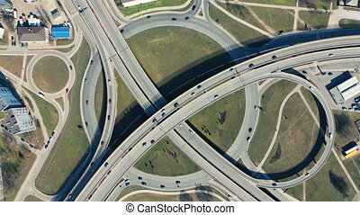 City traffic from above - Bird's-eye view of the city that...