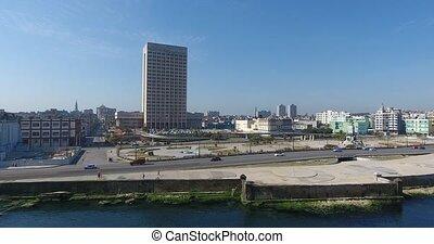 City Traffic Havana Cuba Aerial View Cuban Caribbean Sea -...