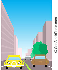 City traffic illustration. Two way road with cars surrounded...