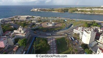 City Traffic In Havana Cuba With Drone Flying In Sky - Drone...