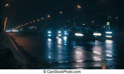 City traffic in the night