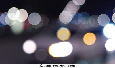 City traffic lights at night, abstract bokeh shot - City...