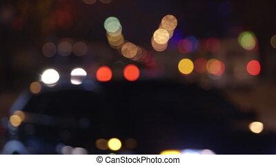 City traffic lights at night