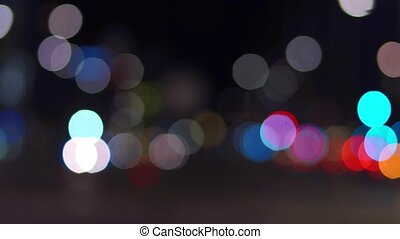 City traffic lights at night, bokeh shot