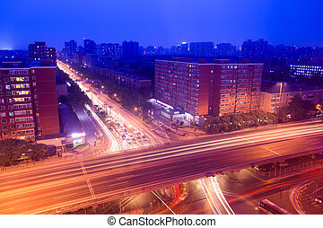 city traffic on the viaduct at night