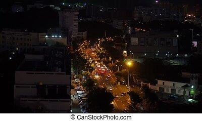 City traffic road - Night traffic, cars and bikes on highway...
