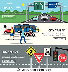 City Traffic Road Signs Banners
