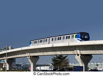 City train on the bridge