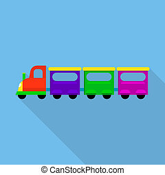 City train toy icon, flat style
