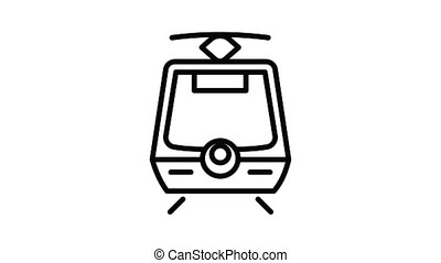 City tram car icon animation outline best object on white background