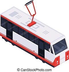 City tram car icon, isometric style