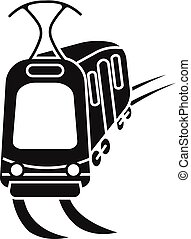 City tram car icon, simple style