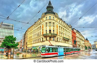City tram in the old town of Brno, Czech Republic - City...