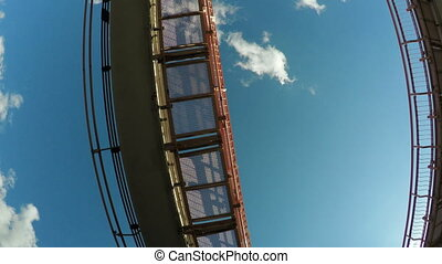 City tram - Camera shoots below city riding tram